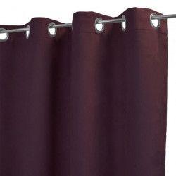 HOME MAISON Rideau uni en suédine - 140 x 250 cm - 8 oeillets - Violet prune
