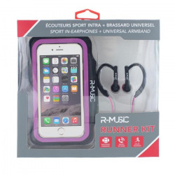 R-MUSIC Runner Kit - Ecouteurs intra-auriculaires filaires + Brassard universel pour smartphone - Rose