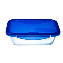 PYREX COOK&GO Plat de conservation rectangulaire 3,3l 30x23cm + Couvercle bleu