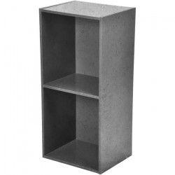 Cube de rangement - 2 niches - L34,5 x P29,5 x H67,5 cm - Couleur Béton ciré