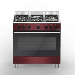 BOMPANI Boe85BX Piano de cuisson gaz - 5 foyers - Four électrique - Catalyse - Bordeaux