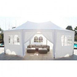 MARRAKECH Tonnelle de jardin en métal 5x6,5 m avec toile en polyester - Blanc