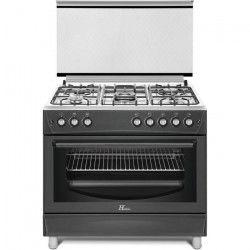 HUDSON HCU-90N - Cuisiniere gaz 5 zones - Allumage automatique - L 90 x H 90 cm - Four électrique - 126 L - B
