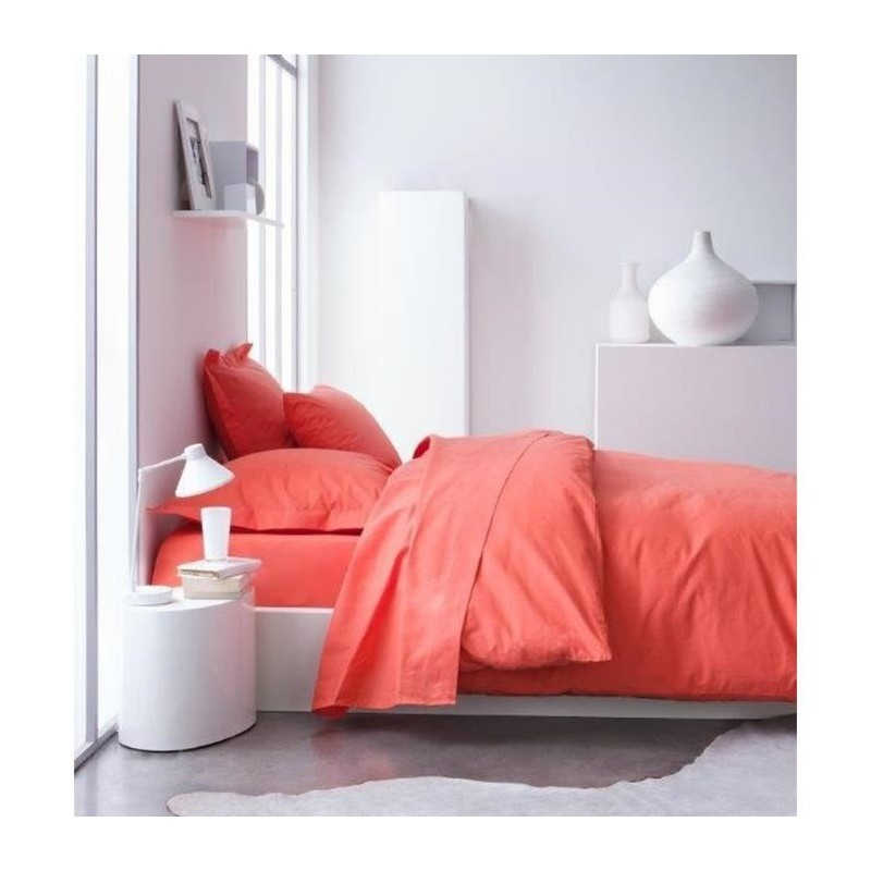 today housse de couette 100 coton 240x260 cm corail. Black Bedroom Furniture Sets. Home Design Ideas