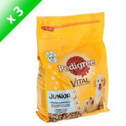 PEDIGREE Croquettes au poulet avec du riz - Pour chien junior - 3 kg (x3)