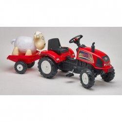 FALK Tracteur a Pédales Monster Trac + Remorque + Mouton Gonflable