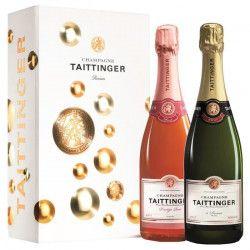 Champagne Taittinger Brut Reserve et Prestige Rose Coffret Bulles de 2 Bouteilles