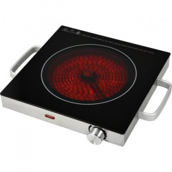 KALORIK TKGCKP1001 Réchaud électrique avec plaque céramique - 2000 W - Surface 28 x 28 cm - Noir et inox