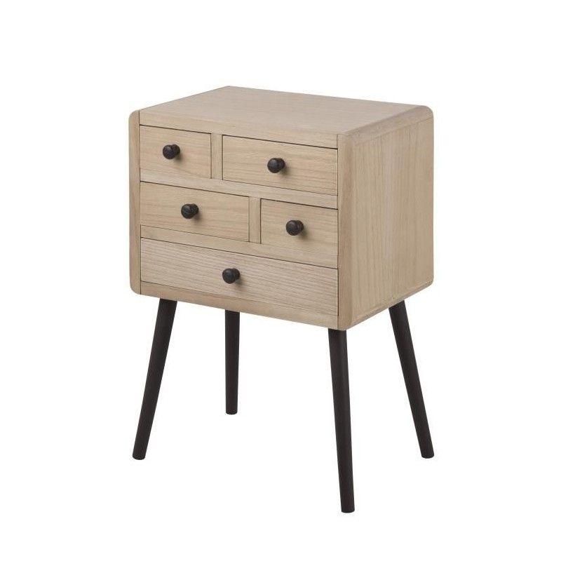 torp commode de chambre 45 cm bois et laqu marron fonc. Black Bedroom Furniture Sets. Home Design Ideas