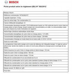 BOSCH WTH83001FF - Seche linge frontal - 7 kg - Pompe a chaleur - Classe A+ - Blanc